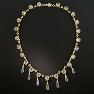 Estate Moonstone and Ruby Necklace