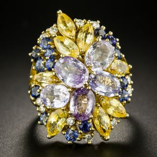 Estate Multi-Colored Sapphire Cluster Ring - 3