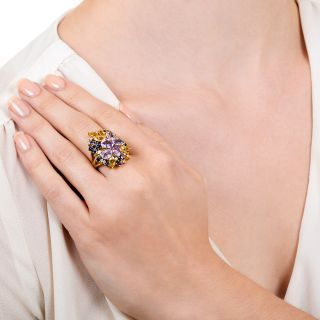 Estate Multi-Colored Sapphire Cluster Ring