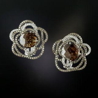 Estate Natural Brown Rose-Cut Diamond Earrings  - 3