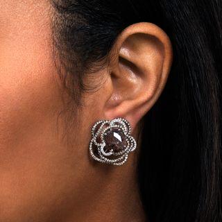 Estate Natural Brown Rose-Cut Diamond Earrings