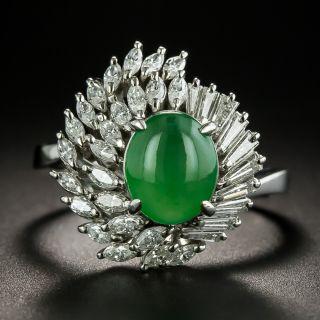 Estate Natural Burmese Jade and Diamond Cocktail Ring - 1