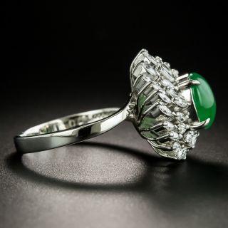 Estate Natural Burmese Jade and Diamond Cocktail Ring