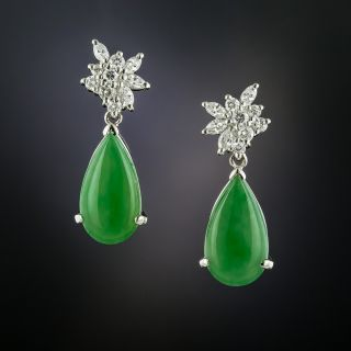 Estate Natural Burmese Jade and Diamond Earrings - 2