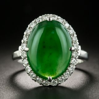 Estate Natural Burmese Jade and Diamond Ring - 2