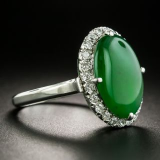 Estate Natural Burmese Jade and Diamond Ring