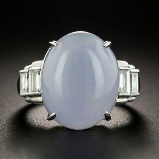 Estate 12.52 Carat Natural Burmese Lavender Jade and Diamond Ring - 2
