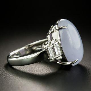 Estate Natural Burmese Lavender Jade Platinum Diamond Ring
