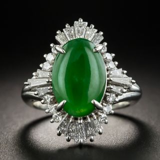 Estate 2.40 Carat Natural Jade Cabochon and Diamond Ring - 1