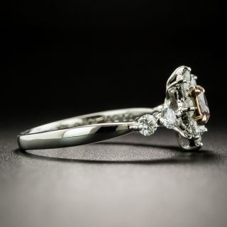 Estate Natural Pink .15 Carat Oval-Cut Diamond Halo Ring