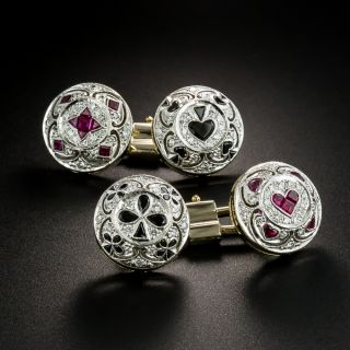 Estate Onyx, Ruby and Diamond Playing Card Suit Cufflinks - 2