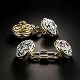 Estate Onyx, Ruby and Diamond Playing Card Suit Cufflinks