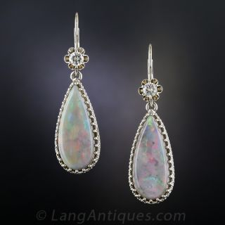 Estate Opal and Diamond Drop Earrings - 2