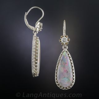 Estate Opal and Diamond Drop Earrings
