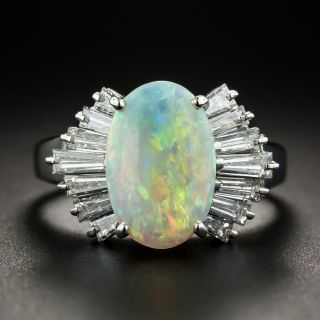 Estate Opal Cabochon and Baguette Diamond Ring - 1