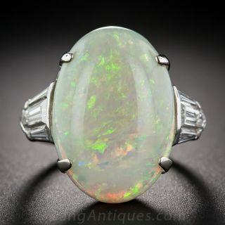 Estate Opal, Platinum and Diamond Ring - 1