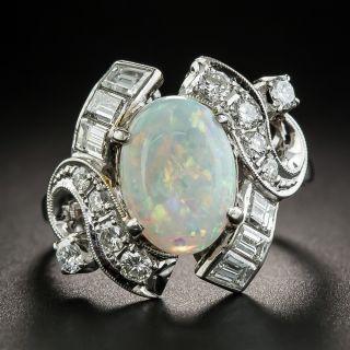 Estate Opal Platinum Diamond Ring - 1