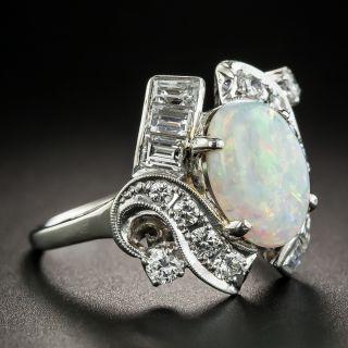 Estate Opal Platinum Diamond Ring