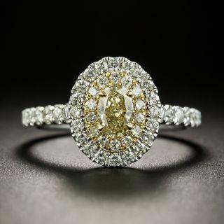 Estate Oval Diamond Double Halo Ring - 3