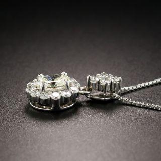 Estate Oval Diamond Platinum Drop Necklace