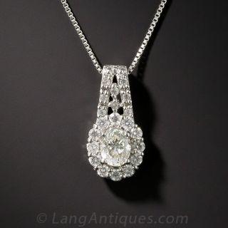 Estate Oval Diamond Platinum Pendant