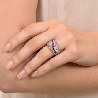Estate Pavé Diamond and Ruby Ring