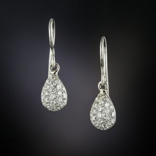 Estate Pave Diamond Teardrop Earrings - 3