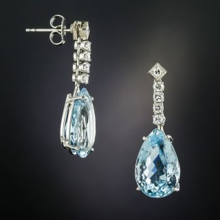 Estate Pear-Shaped Aquamarine and Diamond Drop Earrings - 2