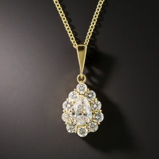 Estate Pear Shaped Diamond Cluster Pendant - 2