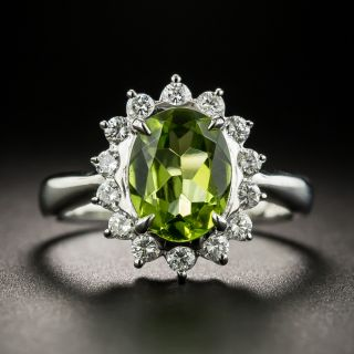Estate Peridot and Diamond Halo Ring - 2