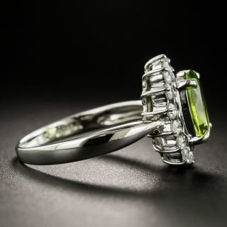 Estate Peridot and Diamond Halo Ring