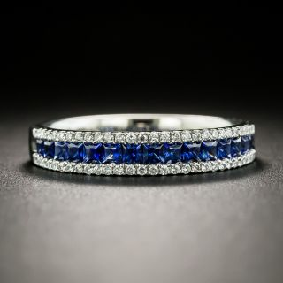 Estate Petite Three Row Sapphire and Diamond Platinum Band - 4