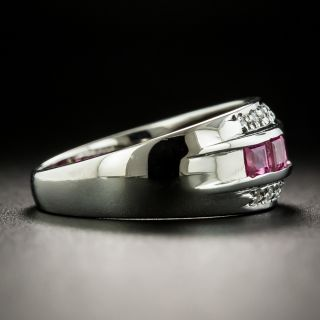 Estate Pink Sapphire and Diamond Three-Row Band Ring