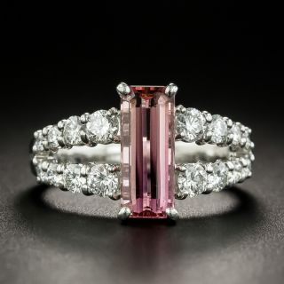 Estate Pink Topaz and Diamond Ring - 6