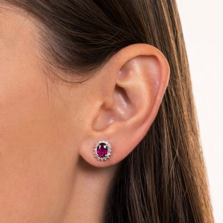 Estate Tourmaline And Diamond Halo Earrings