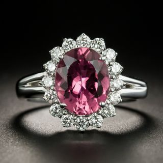 Estate Pink Tourmaline and Diamond Halo Ring - 2
