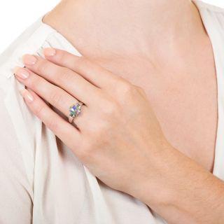 Estate Platinum Black Opal Diamond Ring