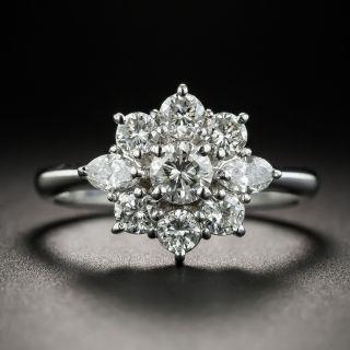 Estate Platinum Diamond Cluster Ring - 1