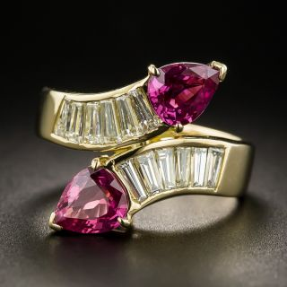 Estate Ruby and Diamond Bypass Ring - 1