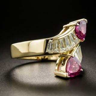 Estate Ruby and Diamond Bypass Ring