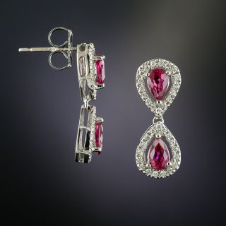 Estate Ruby and Diamond Double Tear Drop Earrings