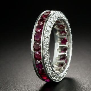 Estate Ruby and Diamond Eternity Band, Size 5 1/4 - 2