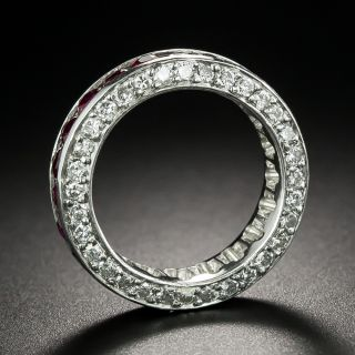 Estate Ruby and Diamond Eternity Band, Size 5 1/4