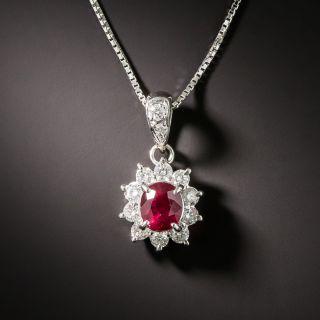Estate Ruby and Diamond Halo Pendant - 2