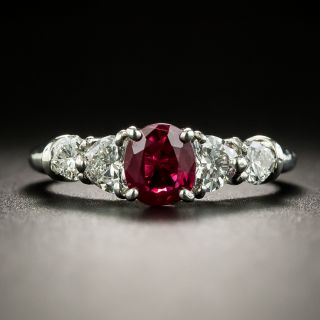 Estate Ruby and Heart-Shaped Diamond Ring - 1