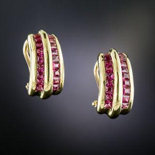 Estate Ruby Huggies Earrings - 2