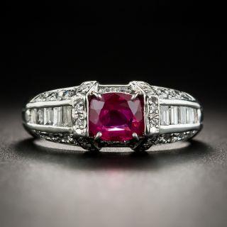 Estate Ruby Platinum Diamond Ring - 1