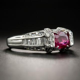Estate Ruby Platinum Diamond Ring