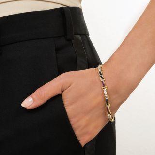 Estate Ruby, Sapphire and Diamond Link Bracelet