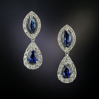 Estate Sapphire and Diamond Drop Earrings - 3